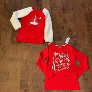 2 NWT size large 10/12 girls Christmas tops